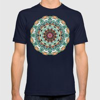 Ornate Orange And Green Abstract Mens Fitted Tee Navy SMALL