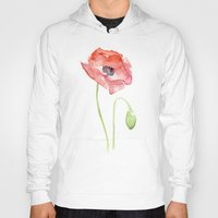 Red Poppy Watercolor Hoody