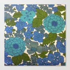 Retro floral sheet blues Canvas Print