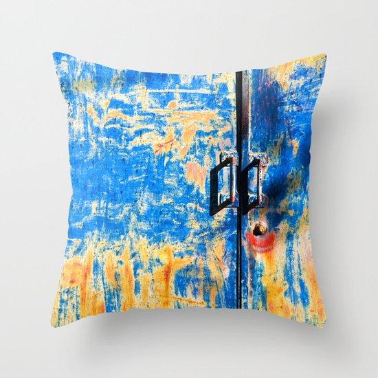 Blue rusty door Throw Pillow