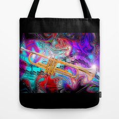 Psychedelic Trumpet Tote Bag