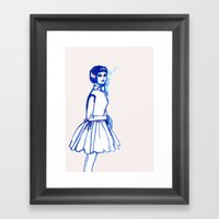 what is she thINKing?blue Framed Art Print