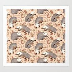 Opossum and Roses Art Print