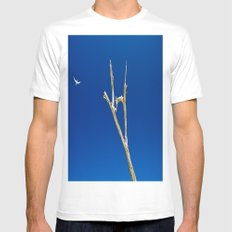 Soaring High in Blue Skies White SMALL Mens Fitted Tee