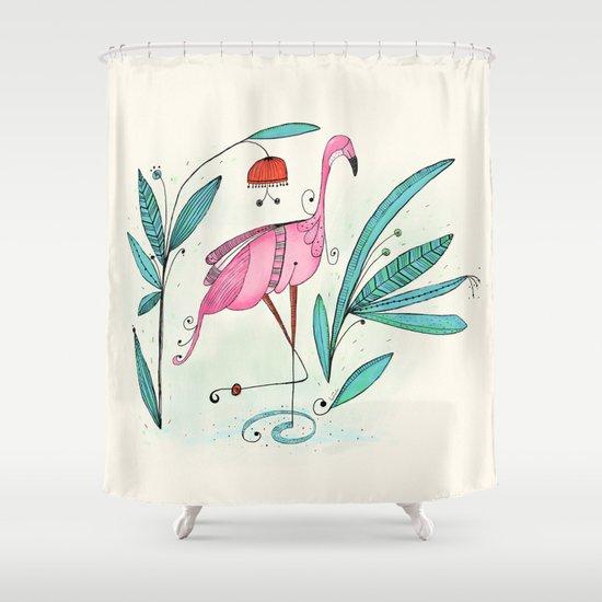Flamingo Shower Curtain By Huemula