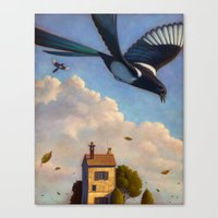 Watching magpies Canvas Print