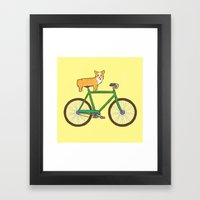 Corgi On A Bike Framed Art Print