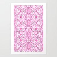 Hot Pink Lace Art Print
