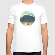 NEVER STOP EXPLORING III White Mens Fitted Tee SMALL