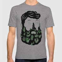 Cactus Beard Dude Mens Fitted Tee Athletic Grey SMALL