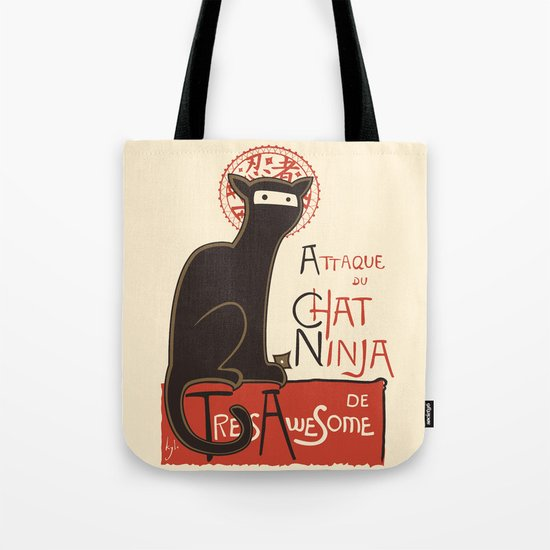 A French Ninja Cat (Le Chat Ninja) Tote Bag