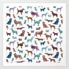 Doggies all over Art Print