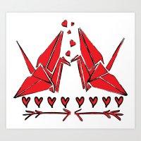 Origami Birds In Love Art Print