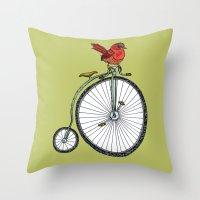 Bird On A Bicycle. Throw Pillow