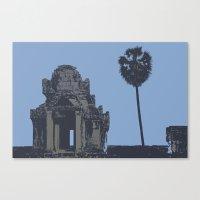 Crypt at Angkor Wat with Palm Tree Canvas Print