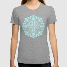 Teal and Aqua Lace Mandala on Grey Womens Fitted Tee Tri-Grey SMALL
