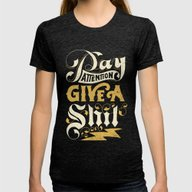 Pay Attention  Womens Fitted Tee Tri-Black SMALL