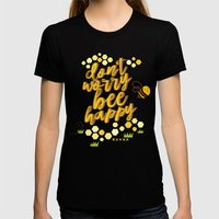 Don't Worry Be Happy. Womens Fitted Tee Black SMALL