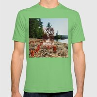 Porn is all around us Mens Fitted Tee Grass SMALL