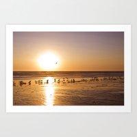 Sunset Over Zuma Beach, … Art Print