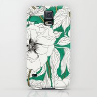 Galaxy S5 Cases featuring green peonies by Marcella Wylie