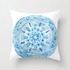 Blue Mandala 1 Throw Pillow