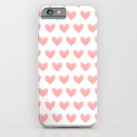 iPhone & iPod Case featuring Coral Pink Watercolor Hearts by Rachel Follett