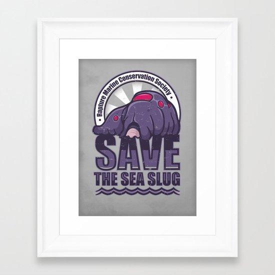 Save The Sea Slug Framed Art Print