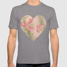 Delicate Pink Botanical Mens Fitted Tee Tri-Grey SMALL