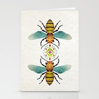 bee Stationery Cards featuring bee by Manoou
