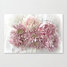 Cottage Chic Pink Peonies and Carnations Canvas Print