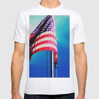 Stars and Stripes  Mens Fitted Tee Ash Grey SMALL