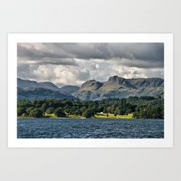 The Langdale Hills from Windermere, Lake District Art Print
