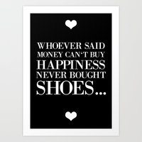 happiness black Art Print