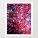 WRAPPED IN STARLIGHT Bold Colorful Abstract Acrylic Painting Galaxy Stars Pink Red Purple Ombre Sky Art Print