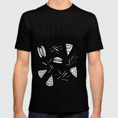 Burgers Pizza Fries in Pastel  Black SMALL Mens Fitted Tee