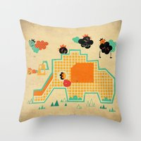 Elephant Playground Throw Pillow