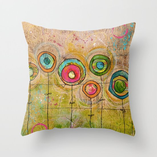 3 orange, 2 green, 3 blue flowers Throw Pillow