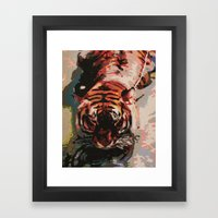 Tiger in the Water Painting Framed Art Print