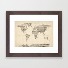 Old Sheet Music World Map Framed Art Print