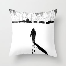 The Thing - Footprints in the snow Throw Pillow