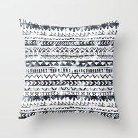 Tribal Stripe - B & W Throw Pillow