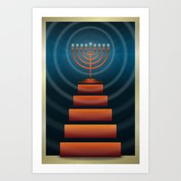 Art Deco Hanukkah Menorah Art Print