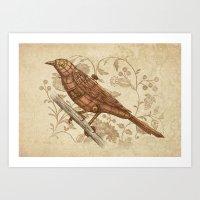 Steampunk Songbird  Art Print