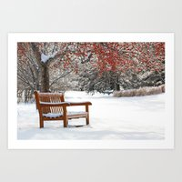 Winter Bench And Crabapp… Art Print