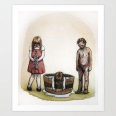 Foxgloves, water, and ash. Art Print
