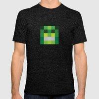 hero pixel green black Mens Fitted Tee Tri-Black SMALL