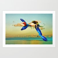 Exotic Macaws Art Print