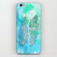 Feathers on Watercolor iPhone & iPod Skin
