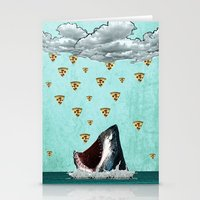 Pizza Shark Print Stationery Cards